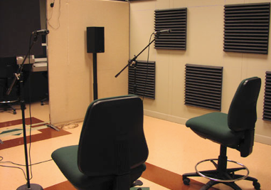 Photo: Arrangement for making a two-channel recording of two simultaneous speakers. These recordings were used in blind speech separation (BSS) research funded by the Air Force Research Laboratories (AFRL), Human Effectiveness (HE) directorate.